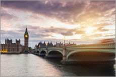 Gallery Print  LONDON Westminster Bridge und Big Ben Sonnenuntergang - rclassen