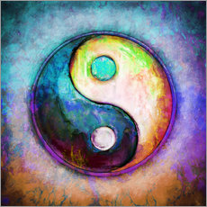 Wandsticker Yin Yang - Colorful Painting 5