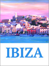 Wandsticker Retro Ibiza Old Town and Harbour Pearl Of the Mediterranean
