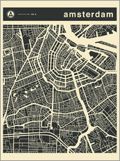 Wandaufkleber  AMSTERDAM CITY MAP - Jazzberry Blue