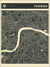 Wandsticker  LONDON CITY MAP - Jazzberry Blue