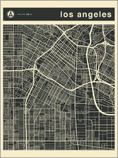 Wandsticker  Los Angeles Stadtplan - Jazzberry Blue