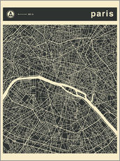 Wandsticker  Paris Stadtplan - Jazzberry Blue