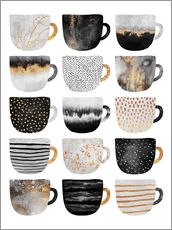 Wandsticker  Pretty Coffee Cups 3   White - Elisabeth Fredriksson