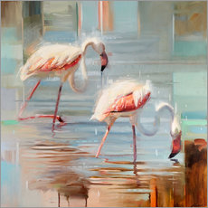 Wandsticker  Sardinische Flamingos II - Johnny Morant