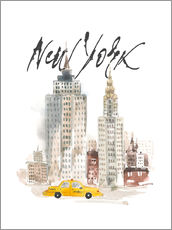 Wandsticker  Aquarell New York Wolkenkratzer