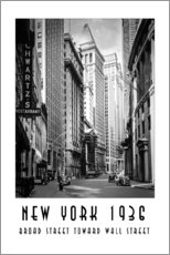 Wandsticker  Historisches New York Broad Street to Wall Street - Christian Müringer