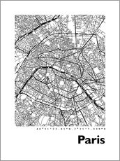 Wandsticker  Stadtplan von Paris - 44spaces
