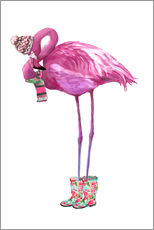 Wandaufkleber  Rosa Flamingo mit Gummistiefeln - Kidz Collection