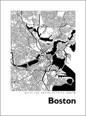 Wandsticker  Stadtplan von Boston - 44spaces