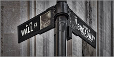 Gallery Print  NYC Wall Street And Broadway Sign-New York City's Broadway Canyon of Heroes and Wall Street Sign. - age fotostock