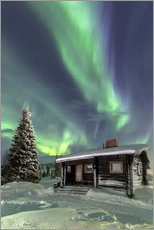 Gallery Print  Northern Lights frame a wooden hut - Roberto Moiola