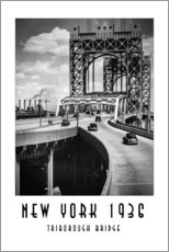 Wandsticker  Historisches New York - Triborough Bridget, Manhattan - Christian Müringer