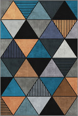 Gallery Print  Colorful Concrete Triangles 2 Blue Grey Brown - Zoltan Ratko