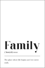 Holzbild  Family Definition (Englisch) - Pulse of Art