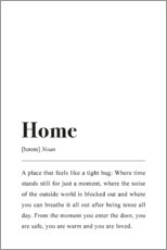 Holzbild  Home Definition (Englisch) - Johanna von Pulse of Art