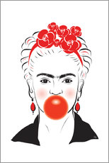 Martina illustration - Frida Kahlo mit Kaugummi
