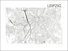 44spaces - Leipzig Karte in Stahlgrau