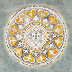 Premium-Poster Mandala Delight III Yellow Grey