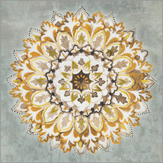 Premium-Poster Mandala Delight II Yellow Grey