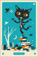 Premium-Poster  THE FOOL TAROT CARD CAT - Jazzberry Blue
