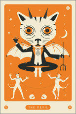 Premium-Poster THE DEVIL TAROT CARD CAT