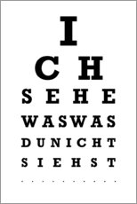 Wandsticker  Ich sehe was ? - Sehtest Deutsch - Typobox