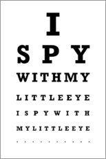 Premium-Poster  I spy? - Sehtest English - Typobox