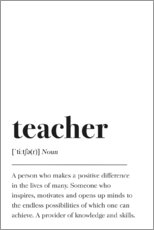 Premium-Poster Teacher Definition (Englisch)