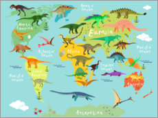 Gallery Print  Dinosaurier-Weltkarte (Englisch) - Kidz Collection