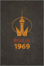 Alubild  Berlin 1969 - Fernsehturm - Black Sign Artwork