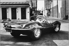 Holzbild  Steve McQueen im Jaguar - Celebrity Collection