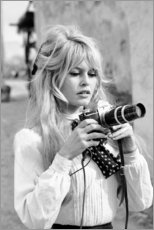 Holzbild  Brigitte Bardot mit Kamera - Celebrity Collection
