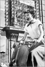 Leinwandbild  Audrey Hepburn auf der Vespa - Celebrity Collection