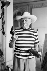 Holzbild  Picasso mit einem Revolver - Celebrity Collection