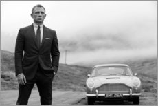 Leinwandbild  Daniel Craig als James Bond schwarzweiß - Celebrity Collection