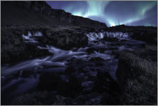 Plakat  Northern lights at the waterfall, Iceland - Christian Möhrle