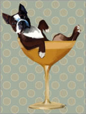 Premium-Poster Boston Terrier im Cocktailglas