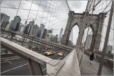 Leinwandbild  Brooklyn Bridge mit gelben Taxis - nitrogenic