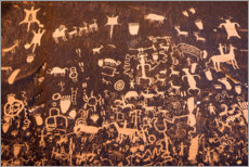 Holzbild  Petroglyphen am Newspaper Rock II - Russ Bishop