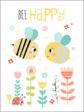 Hartschaumbild  Bee Happy - Louise Anglikas