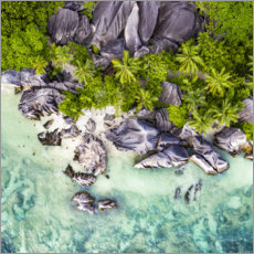 Gallery Print  Anse Source d'Argent von oben - Jan Christopher Becke