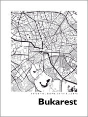 Wandsticker  Stadtplan von Bukarest - 44spaces