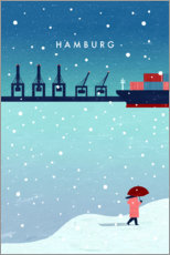 Holzbild  Hamburg ? im Winter Illustration - Katinka Reinke