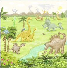 Gallery Print  Dinosaurier-Landschaft - Fluffy Feelings