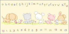 Wandsticker  abc & 1-2-3 mit Tieren - Fluffy Feelings