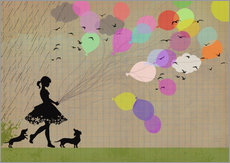 Wandaufkleber girl with balloons