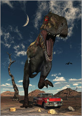 Gallery Print  A Tyrannosaurus Rex about to crush a Cadillac with his feet. - Mark Stevenson