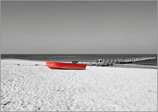 Gallery Print  Rotes Boot am Strand - HADYPHOTO