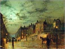 Wandsticker  Hampstead Hill, Blick auf Heath Street - John Atkinson Grimshaw